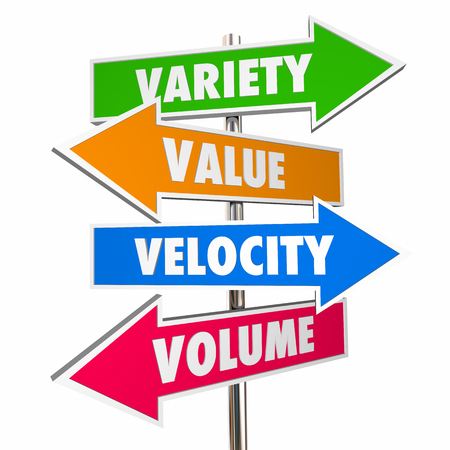 Variety Value Velocity Volume Big Data Signs 3d Illustration Stock fotó