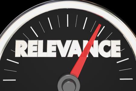 Relevance Importance Relevant Matters Speedometer 3d Illustration