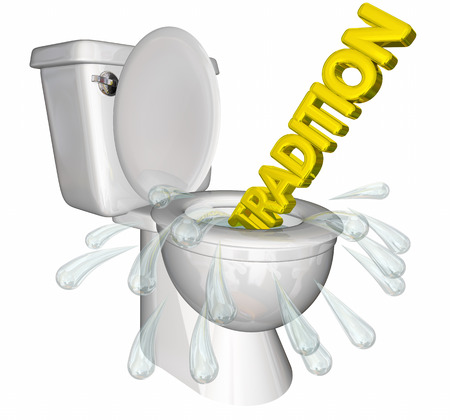 Tradition Flushing Down Toilet History 3d Illustration.jpg Stock Photo