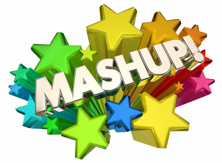 Mashup Two Things Together Stars Words 3d Illustration