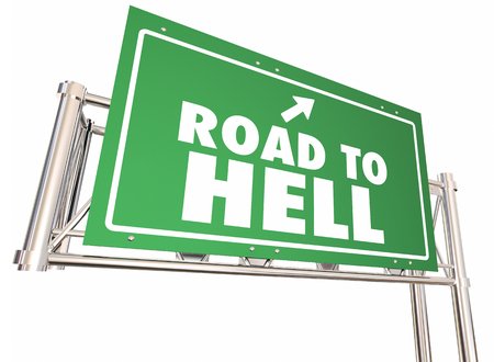 Road to Hell Freeway Highway Green Sign 3d Illustration