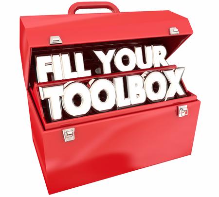 Fill Your Toolbox Red Metal Tools Words 3d Illustration 版權商用圖片 - 81266620