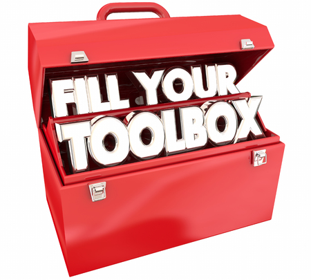 Fill Your Toolbox Red Metal Tools Words 3d Illustration