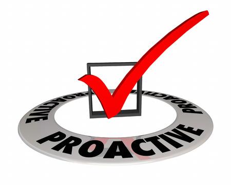 Proactive Check Mark Box Plan Ahead 3d Illustration