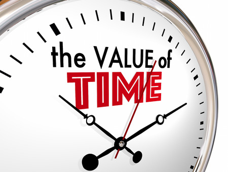 The Value of Time Words Clock Valuable 3d Illustration