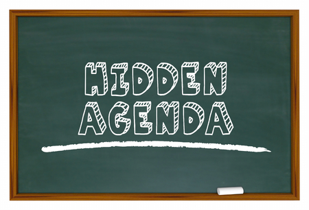 Hidden Agenda Chalkboard Words Secret Plan 3d Illustration Stock fotó