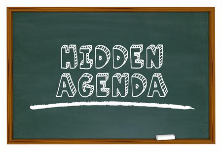 Hidden Agenda Chalkboard Words Secret Plan 3d Illustration Stock Photo