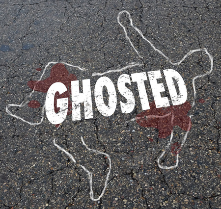 Ghosted Chalk Outline Dead Body Illustration Stock Photo