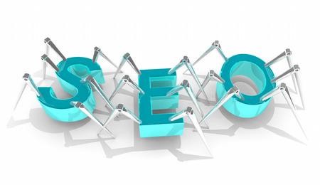 SEO 검색 엔진 최적화 크롤러 봇 3d 일러스트 레이션 스톡 콘텐츠