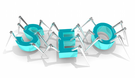 SEO Search Engine Optimization Crawler Bots 3d Illustration 版權商用圖片