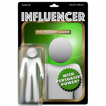 word: Influencer Person Influential Customer Action Figure 3d Illustration
