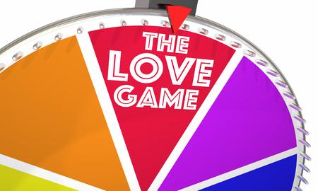 The Love Game Spinning Wheel Play Romance 3d Illustration 版權商用圖片