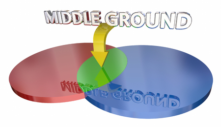 compromising: Middle Ground Compromise Negotiation Venn Diagram 3d Illustration