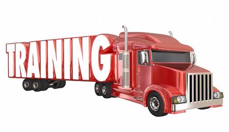 Opleiding Truck Driver School Trucking-licentie Certificering 3d illustratie