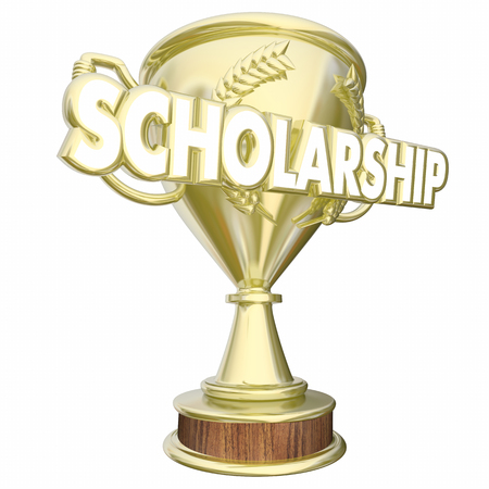 scholarship: Scholarship Trophy Prize Student School Award 3d Illustration