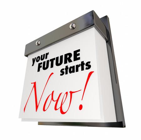 당신의 미래가 시작됩니다 달력 날짜 오늘은 3d 일러스트