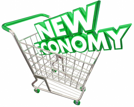 digital background: New Economy Shopping Cart Digital Selling Service Based 3d Illustration Stock Photo