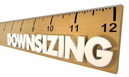 staffing: Downsizing Ruler Reducing Company Size Economic Change 3d Illustration Stock Photo
