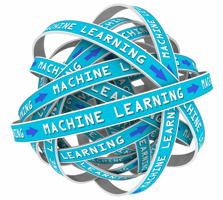 information analysis: Machine Learning Process Loops Input AI Artificial Intelligence 3d Illustration