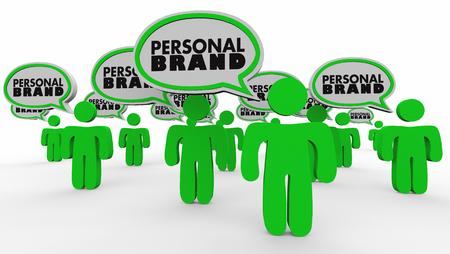 個人的なブランドの人々 のスピーチの泡市場自分 3 d イラストレーション