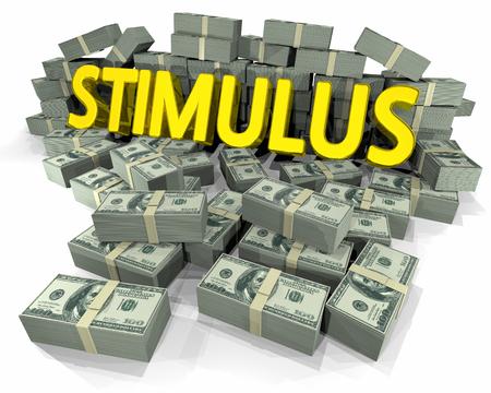 Pilha de dinheiro do estímulo Ajuda financeira Ilustração 3d Imagens