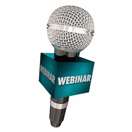 Webinar Microphone Seminar Online e-Learning 3d Illustration
