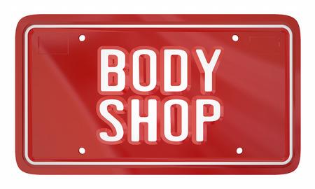 Body Shop Auto Reparatie Mechanic Service Licentieplaat 3D Illustratie Stockfoto