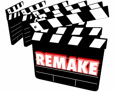 Remake Movie Film Clappers 3d Illustration Фото со стока