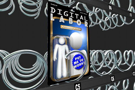 automated: Digital Labor Action Figure Automated Internet Worker 3d Illustration Stock Photo
