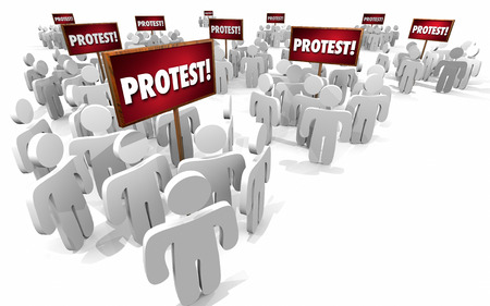 mobs: Protest People Signs Groups 3d Illustration Stock Photo