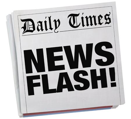 journalism: News Flash Newspaper Report Story Article Headlines 3d Illustration Stock Photo