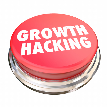 pressing: Growth Hacking Marketing Experiments Button 3d Illustration Stock Photo