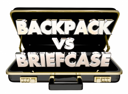 Backpack Vs Briefcase Words Carry Documents 3d Illustration