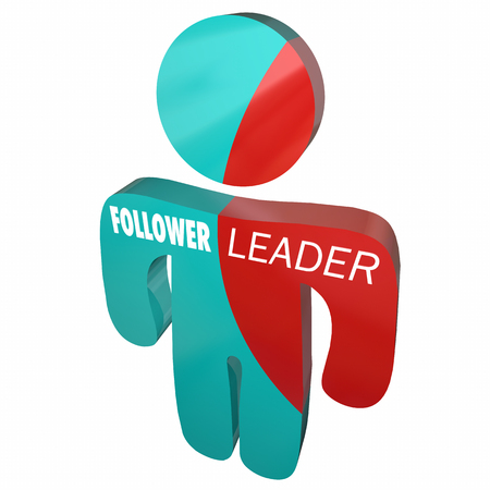 personality: Leader Vs Follower Person Split Personality 3d Illustration