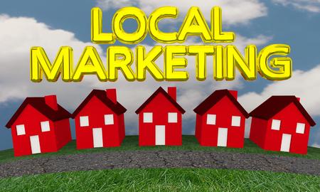 Lokale marketing huizen buurt huizen 3d illustratie Stockfoto