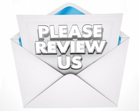 Beoordeel alsjeblieft de Uitnodigingsboodschap Envelop 3d Illustratie