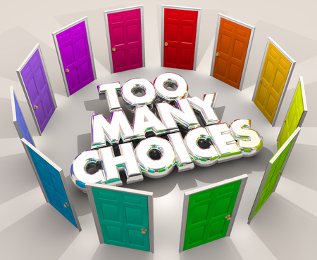 Too Many Choices Doors Decision Pick Choose 3d Illustration