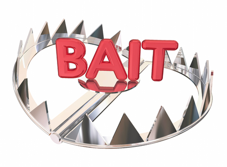 bear trap: Bait Word Steel Bear Trap Lure Prey 3d Illustration