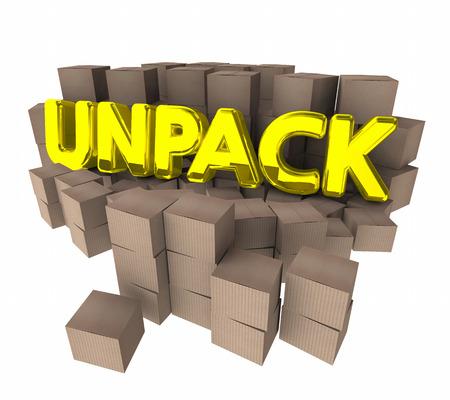 Unpack Cardboard Boxes Packages Understand Ideas 3d Illustration