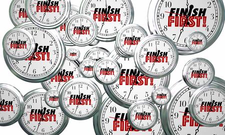 Finish First Clocks Flying Win Race 3d Illustration