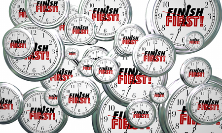 Finish First Clocks Flying Win Race 3d Illustration