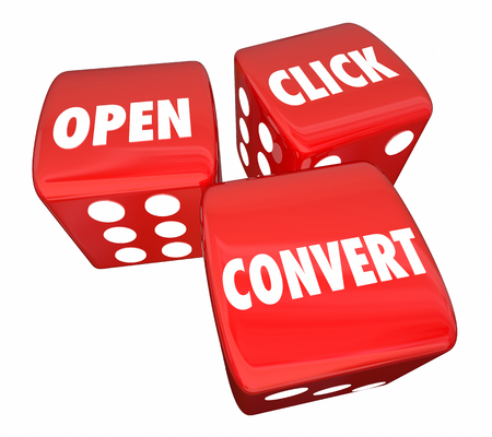 metrics: Open Click Convert Dice Words Marketing Advertising 3d Illustration