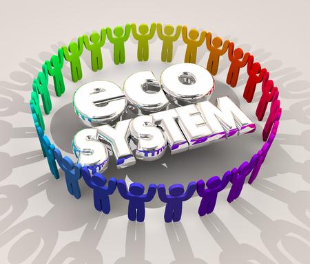 Ecosysteem Mensen Kopers Verkopers Leveranciers 3D Illustratie
