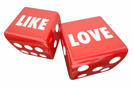 Like Vs Love Two Dice Favorite Opinion 3d Illustration