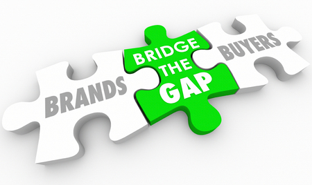 Bridge the Gap Between Buyers and Brands Puzzle 3d Illustration Stock Photo