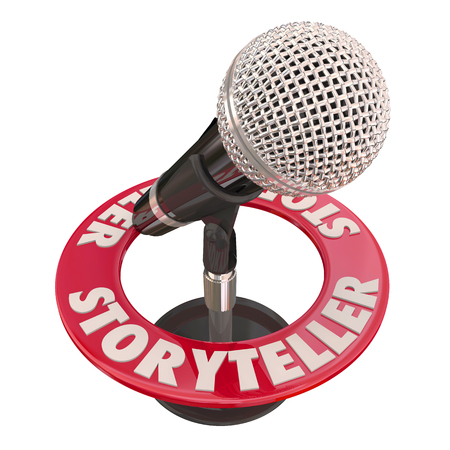 Storyteller Microphone Speaker Guest Host Telling Tales 3d Illustration Stok Fotoğraf