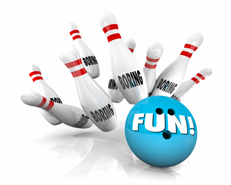 Fun Vs Boring Bowling Ball Stikes Pins 3d Illustration Imagens - 81560841