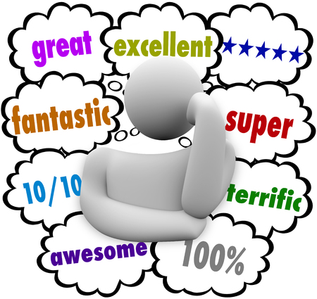word: Great Reviews Satisfied Customer Thought Clouds 3d Illustration
