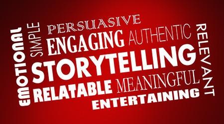 Storytelling Word Collage Emotie Engagement Illustratie
