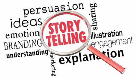Storytelling Sharing Ideas Communicatie Vergrootglas 3d Illustratie